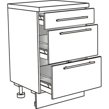 Skříňka spodní se 3 zásuvkami ostrůvková 90 cm