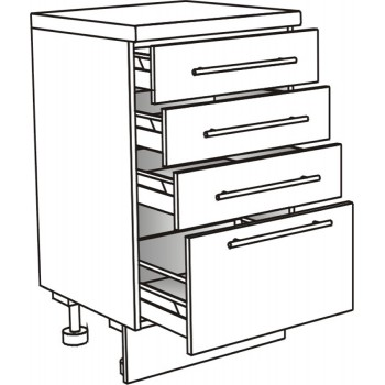 Skříňka spodní se 4 zásuvkami ostrůvková 45 cm
