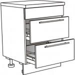 Skříňka spodní se 2 zásuvkami pro varnou desku ostrůvková 60 cm